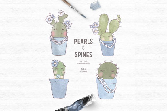 Download Free Hand Drawn Cactus Clipart In Blue Graphic By Wallifyer for Cricut Explore, Silhouette and other cutting machines.