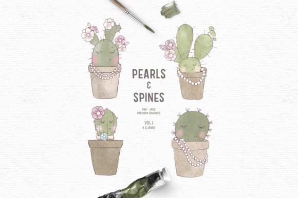 Print on Demand: Hand-drawn Cactus Clipart in Brown Graphic Illustrations By Wallifyer
