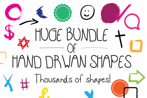 Print on Demand: Huge Bundle of Hand-drawn Shapes  By GraphicsBam Fonts