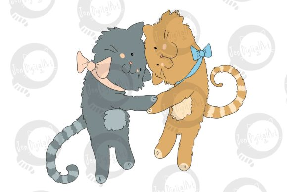 Download Free Hugging Cats Graphic By Jen Digital Art Creative Fabrica for Cricut Explore, Silhouette and other cutting machines.