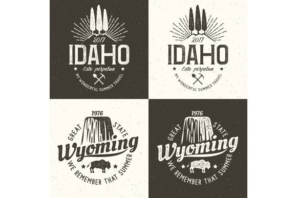 Idaho Vintage Logo. Wyoming Retro   Graphic Illustrations By Agor2012