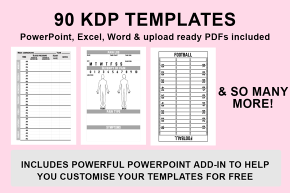 Print on Demand: KDP - 90 Templates + PowerPoint Add-in Graphic KDP Interiors By Bowes Publishing