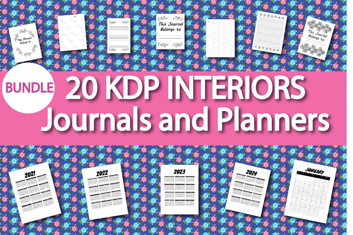 Download Free Kdp Interior Journal And Planner Bundle Bundle Creative Fabrica for Cricut Explore, Silhouette and other cutting machines.