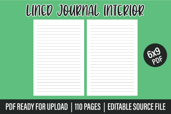 KDP Lined Journal / Notebook Interior Graphic KDP Interiors By Blueberry Interiors
