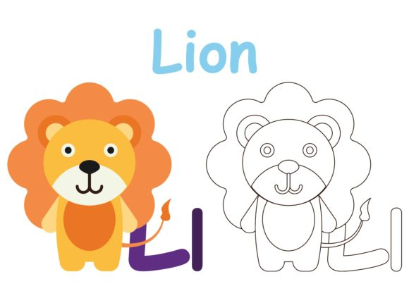 Download Free Kids Coloring Animal L Graphic By Studioisamu Creative Fabrica for Cricut Explore, Silhouette and other cutting machines.