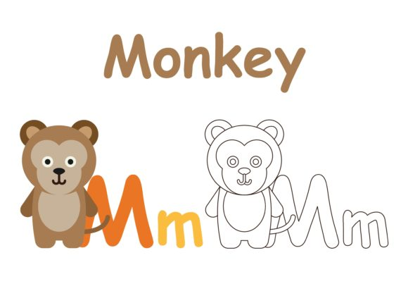 Download Free Kids Coloring Animals M Graphic By Studioisamu Creative Fabrica for Cricut Explore, Silhouette and other cutting machines.
