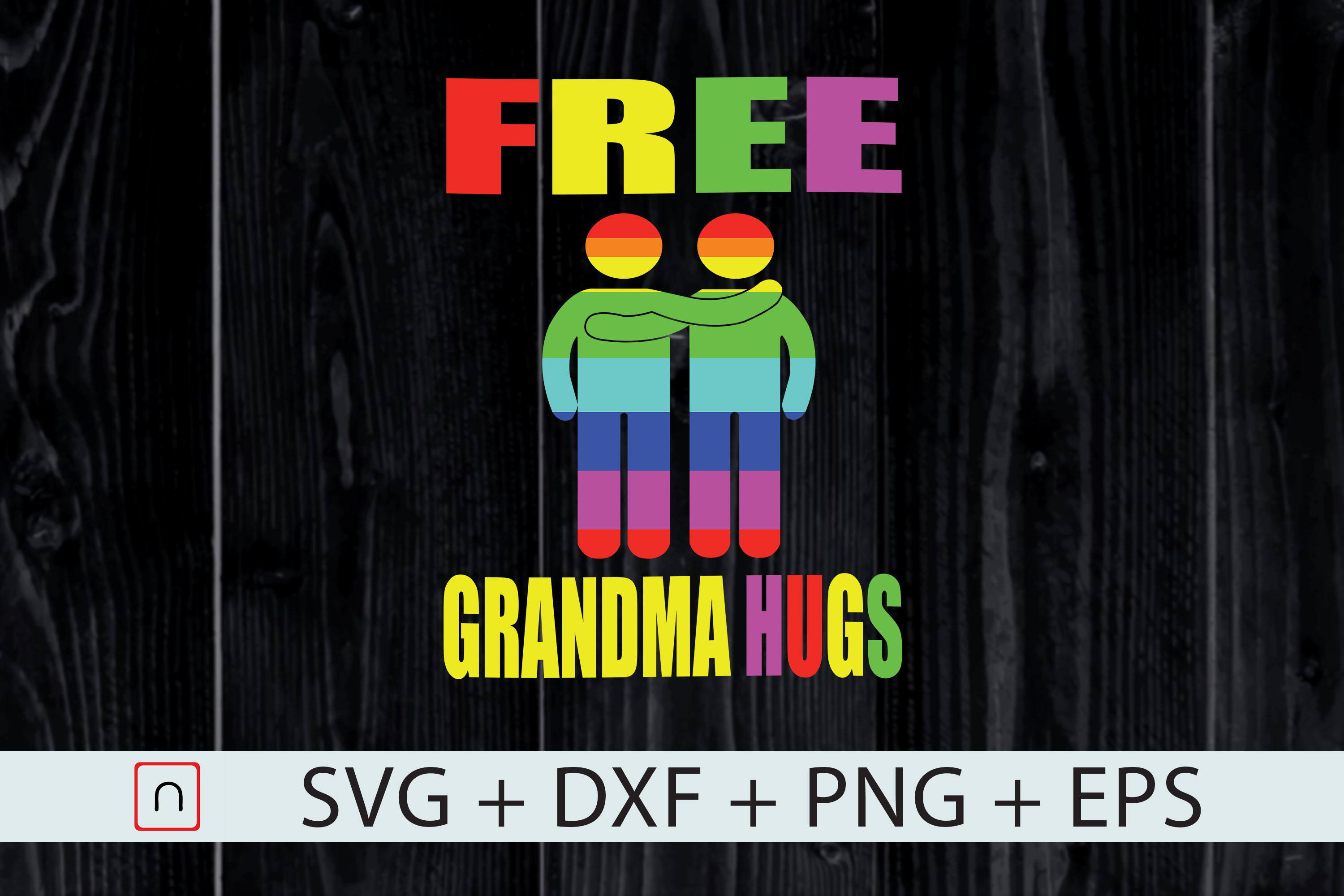 Download Free Lgbt Free Hugs Grandma Gay Pride Cricut Graphic By Novalia for Cricut Explore, Silhouette and other cutting machines.