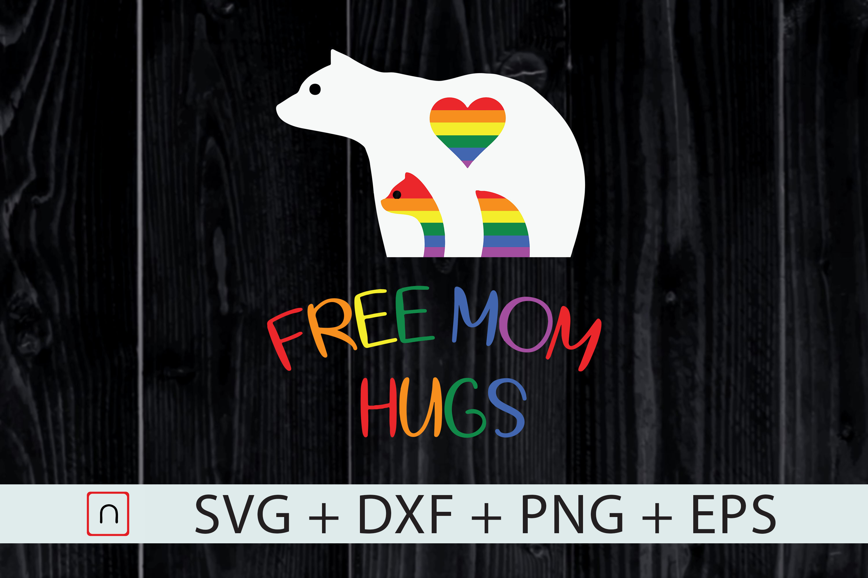 Download Free Lgbt Gay Pride Mama Bear Free Mom Hugs Grafico Por Novalia for Cricut Explore, Silhouette and other cutting machines.
