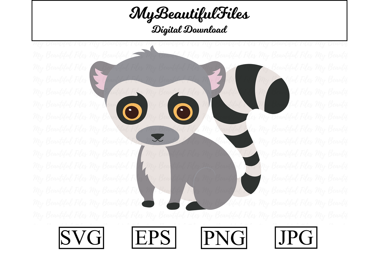 Download Free Lemur Cute Clipart Graphic By Mybeautifulfiles Creative Fabrica for Cricut Explore, Silhouette and other cutting machines.