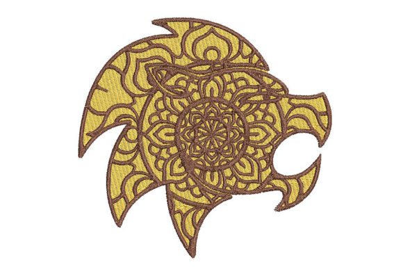 Print on Demand: Lion Zodiac Leo Mandala Style Wild Animals Embroidery Design By Embroidery Shelter - Image 1