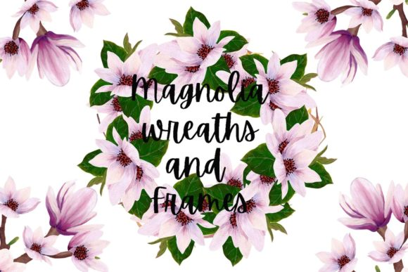 Print on Demand: Magnolia Wreaths and Frames Graphic Illustrations By Andreea Eremia Design