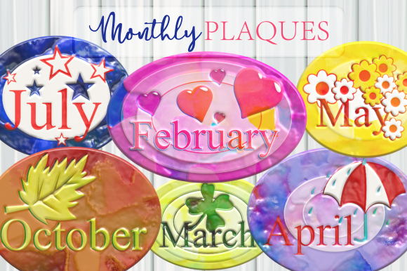 Monthly Scrapbook Plaques Glossy Text SVG File