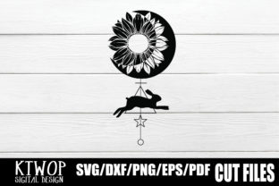 Download Free Moon Sunflower And Rabbit Art Graphic By Ktwop Creative Fabrica for Cricut Explore, Silhouette and other cutting machines.