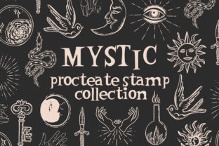 Print on Demand: Mystic Symbols Sun Moon Stamps Procreate Graphic Brushes By Kamila Suwińska