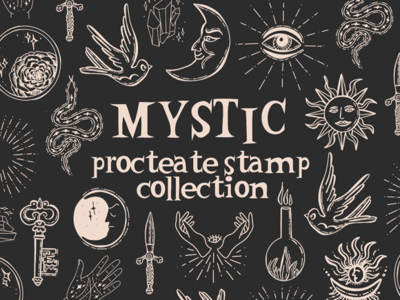 Mystic Symbols Sun Moon Stamps Procreate Graphic Brushes By Kamila Suwińska