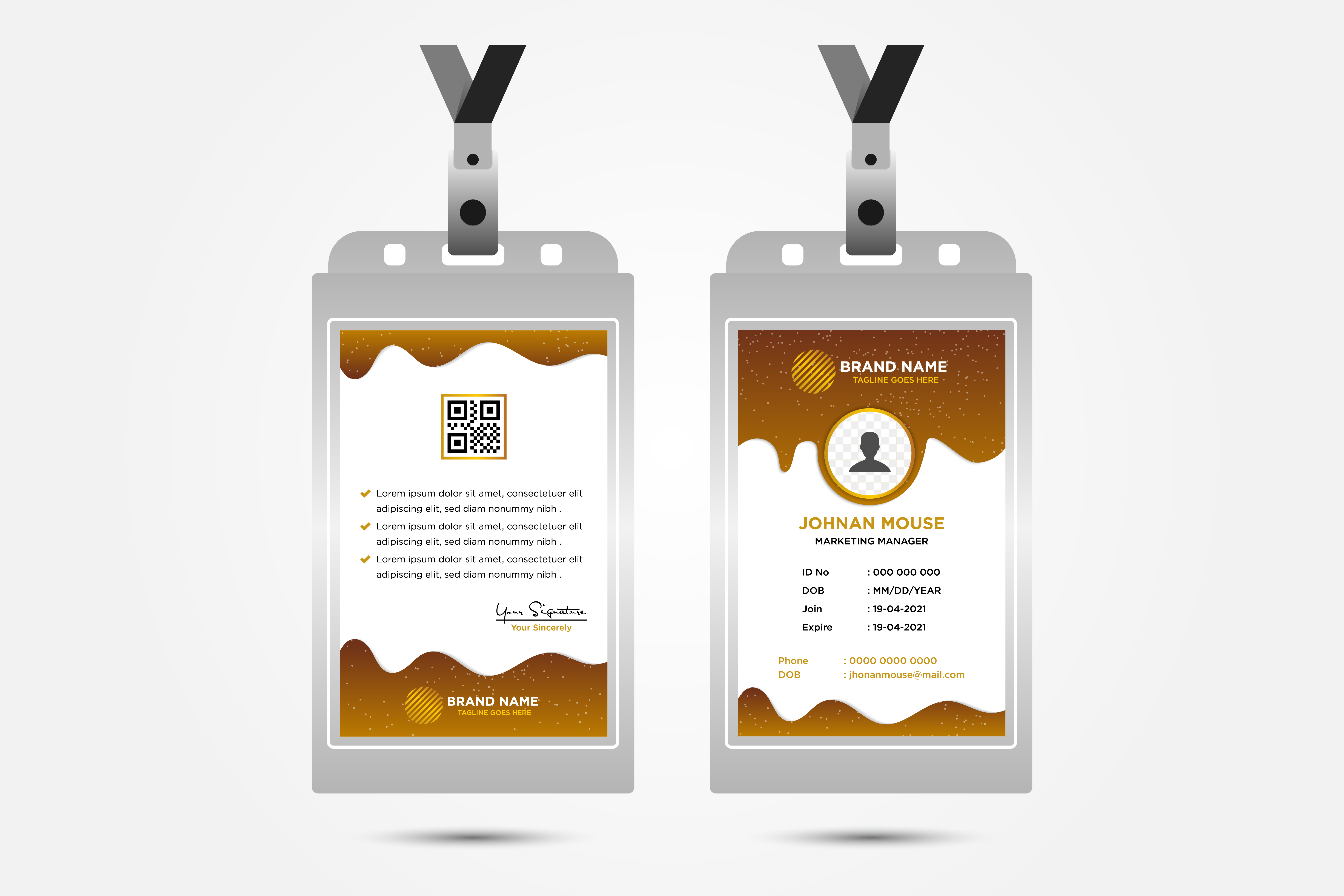Download Free Name Card Brown Vertical Graphic By Noory Shopper Creative Fabrica for Cricut Explore, Silhouette and other cutting machines.