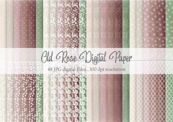 Print on Demand: Old Rose Digital Paper Graphic Patterns By Simply Paper Craft