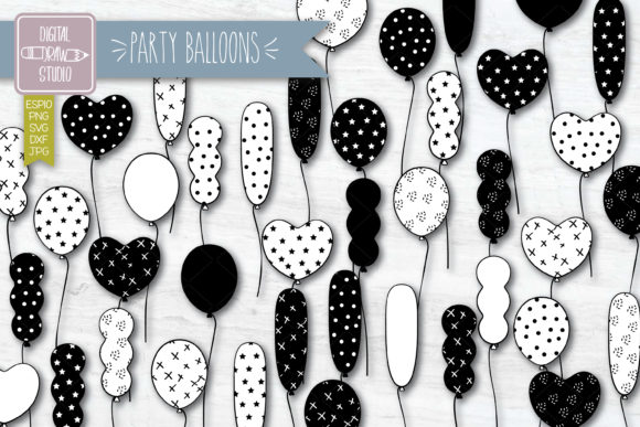 Party Balloons Doodles | Birthday Decor Graphic Illustrations By carmela_giordano