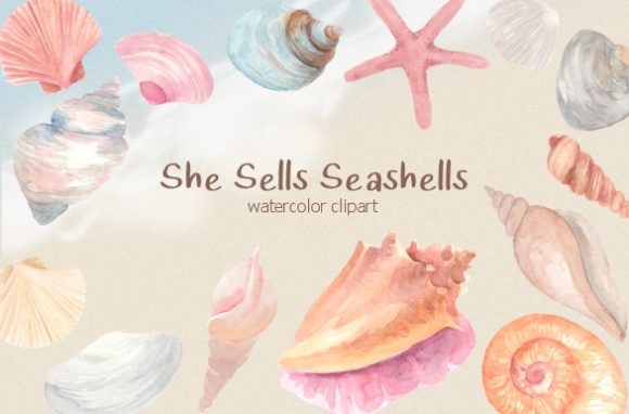 Print on Demand: Pastel Seashells Watercolor Clipart Set Grafik Illustrationen von roselocket