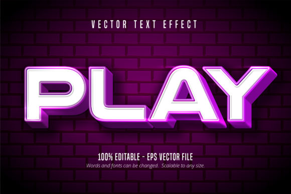 Print on Demand: Play Shiny Editable Text Effect Graphic Graphic Templates By Mustafa Bekşen