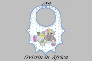 Playful Baby Hippo Bib Small Nursery Embroidery Design By Ovistin in Africa