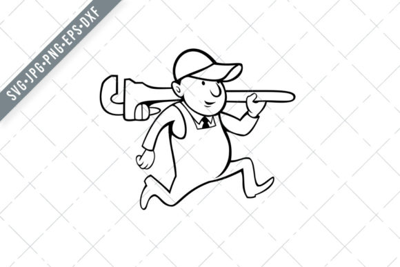 Download Free Plumber Holding Monkey Wrench Cartoon Bl Graphic By Patrimonio for Cricut Explore, Silhouette and other cutting machines.