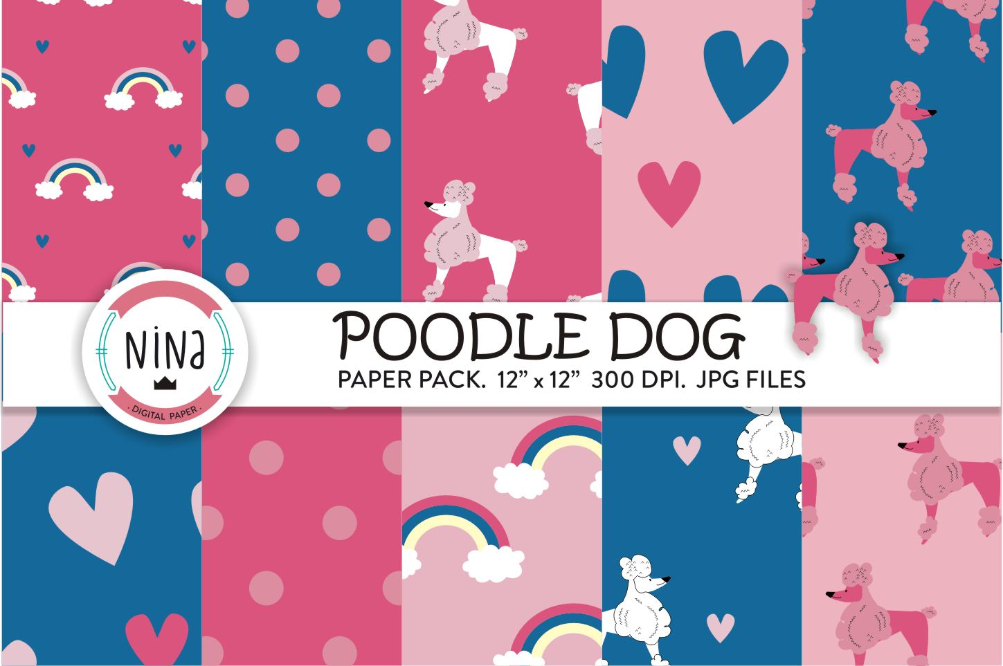 Download Free Poodle Dogs Digital Paper Dog Wrapping Graphic By Nina Prints for Cricut Explore, Silhouette and other cutting machines.
