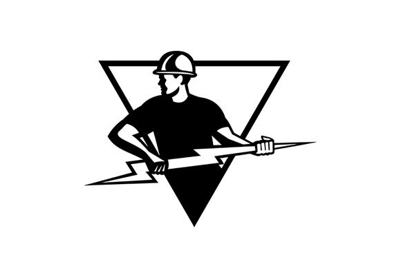 Download Free Power Lineman With Thunderbolt Triangle Graphic By Patrimonio for Cricut Explore, Silhouette and other cutting machines.