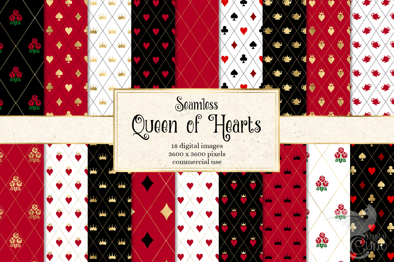Download Free Queen Of Hearts Digital Paper Graphic By Digital Curio for Cricut Explore, Silhouette and other cutting machines.