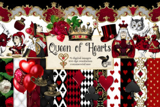 Print on Demand: Queen of Hearts Digital Scrapbook Kit Graphic Illustrations By Digital Curio