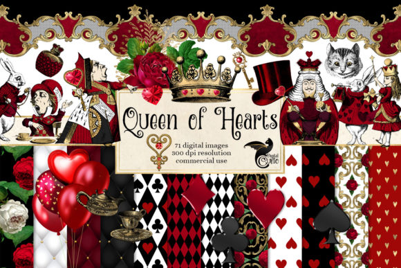 Print on Demand: Queen of Hearts Digital Scrapbook Kit Gráfico Ilustraciones Por Digital Curio
