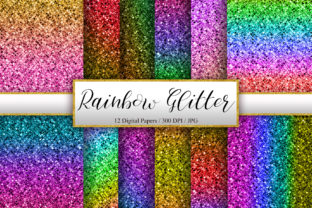 Print on Demand: Rainbow Glitter Background Graphic Backgrounds By PinkPearly