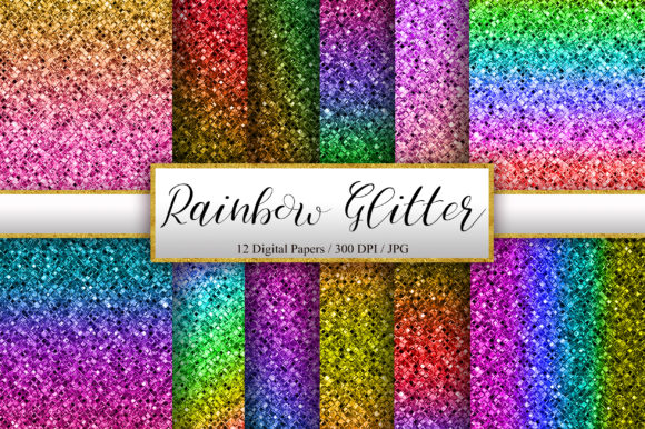 Rainbow Glitter Background Graphic Backgrounds By PinkPearly