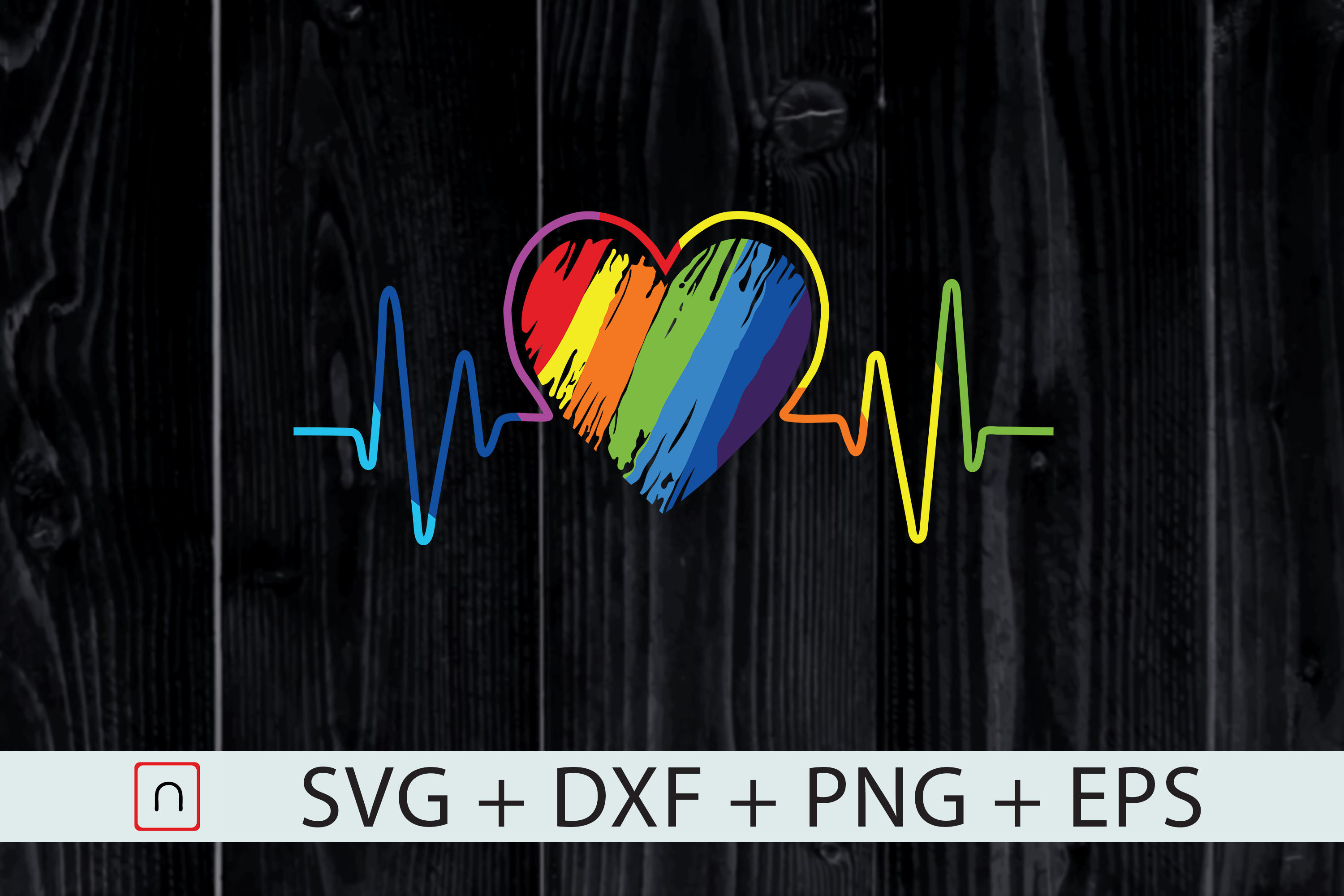 Download Free Rainbow Heartbeat Gay Pride Lgbtq Graphic By Novalia Creative for Cricut Explore, Silhouette and other cutting machines.