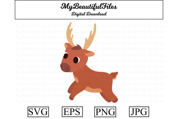 Download Free Reindeer Christmas Clipart Graphic By Mybeautifulfiles for Cricut Explore, Silhouette and other cutting machines.
