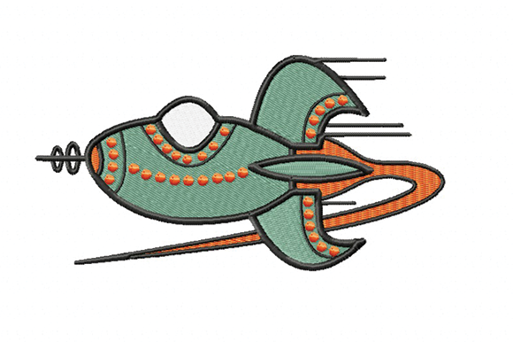 Retro Rocket Sewing & Crafts Embroidery Design By Julie Dunn