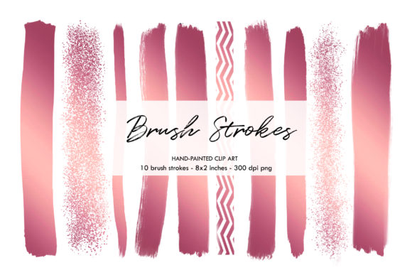 Rose Gold Brush Strokes, Strokes Graphic Objects By BonaDesigns