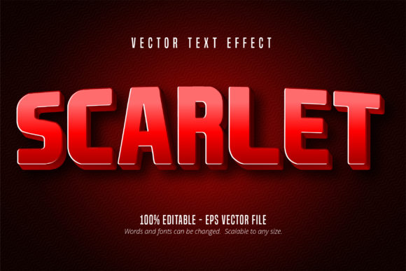 Print on Demand: Scarlet Red Color Text Effect Graphic Graphic Templates By Mustafa Bekşen