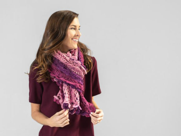 Scroll Lace Scarf Crochet Pattern Graphic Design