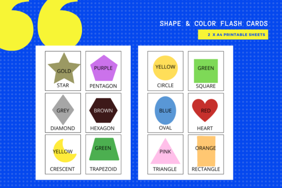 Print on Demand: Shape & Color Flash Cards (Printable) Graphic Teaching Materials By MarinovaDesigns