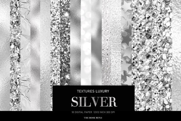 Print on Demand: Silver Digital Paper, Silver Foil Graphic Textures By The Rose Mind