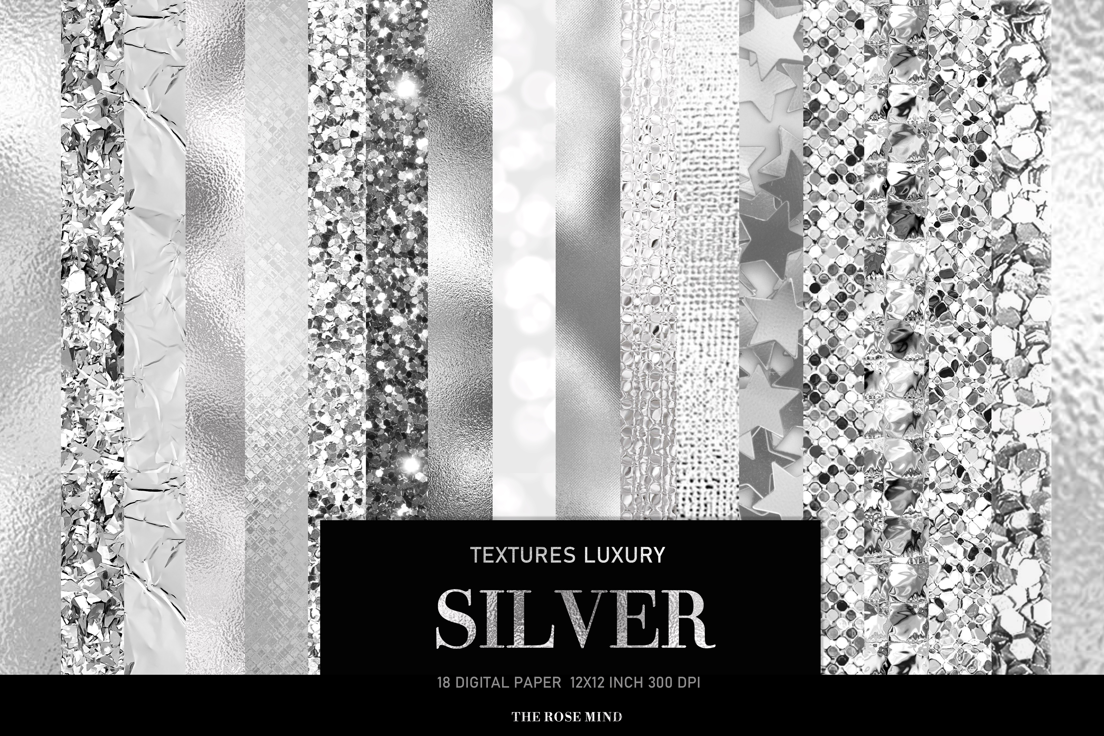 Download Free Silver Digital Paper Silver Foil Graphic By Therosemind for Cricut Explore, Silhouette and other cutting machines.