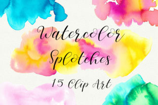 Print on Demand: Summer Watercolor Splotches Clip Art Graphic Backgrounds By PinkPearly