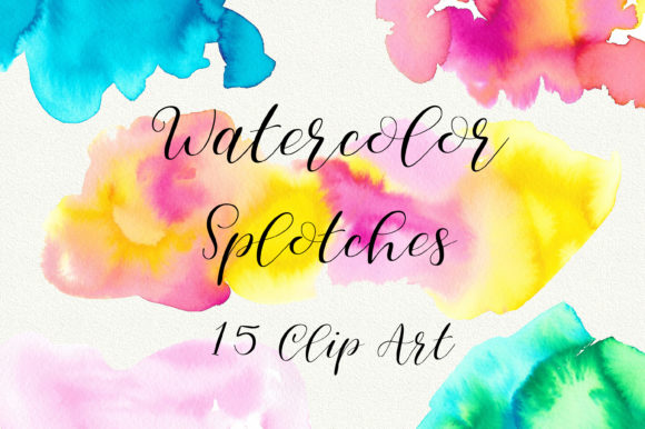 Summer Watercolor Splotches Clip Art Graphic Backgrounds By PinkPearly