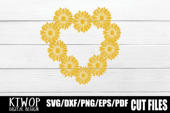 Download Free Sunflower Heart Monogram Graphic By Ktwop Creative Fabrica for Cricut Explore, Silhouette and other cutting machines.