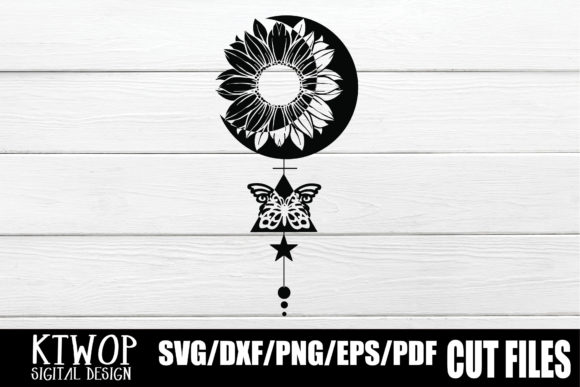 Download Free Sunflower Moon Butterfly Art Graphic By Ktwop Creative Fabrica for Cricut Explore, Silhouette and other cutting machines.