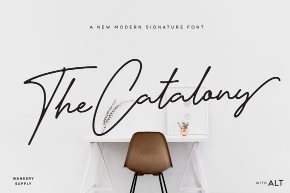 Download Free The Catalony Font By Wandery Supply Creative Fabrica for Cricut Explore, Silhouette and other cutting machines.