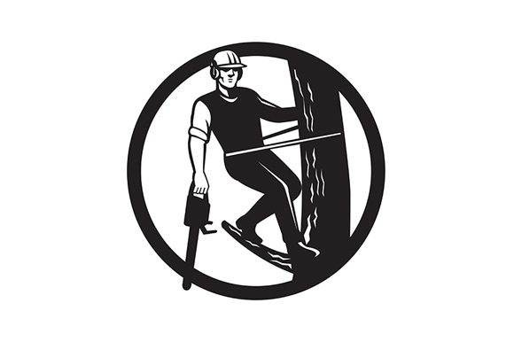 Download Free Tree Surgeon Or Arborist With Chainsaw Graphic By Patrimonio for Cricut Explore, Silhouette and other cutting machines.