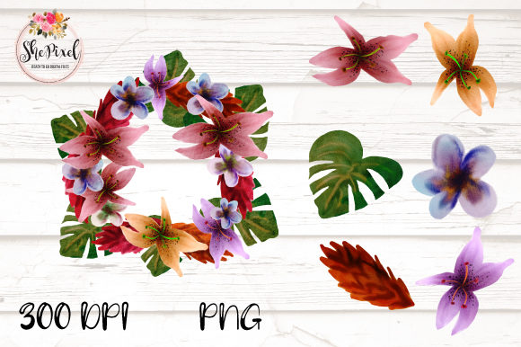 Download Free Tropical Watercolor Flower Clipart Set Graphic By Shepixel for Cricut Explore, Silhouette and other cutting machines.