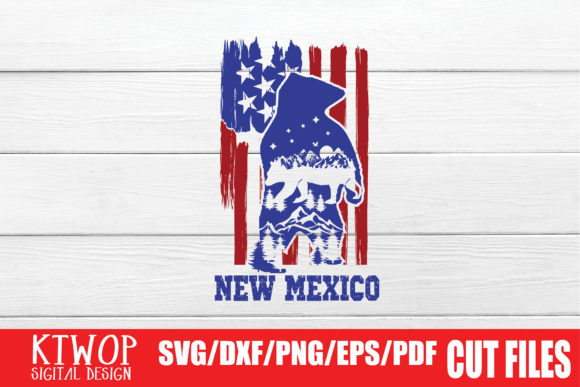 Download Free Usa X Animal Bear St New Mexico 4th July Graphic By Ktwop for Cricut Explore, Silhouette and other cutting machines.